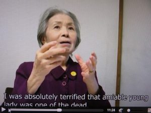 「被爆者は忘却も沈黙も許されません」と語る天野文子さん(英語版映像から)