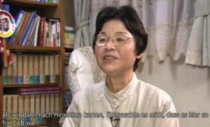 ドイツ語の字幕が入った「小谷孝子さん」の映像